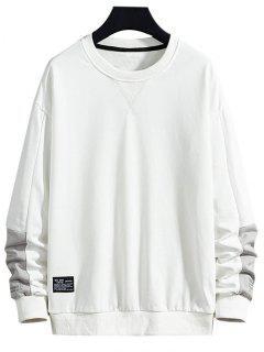 Letter Text Print Applique Contrast Sweatshirt - White S