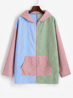 ZAFUL Hooded Corduroy Color Blocking Zip Pocket Coat - Multi-a M