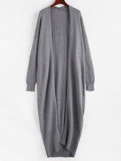 Open Front Drop Shoulder Long Cardigan - Gray