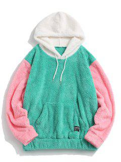 Pullover Drawstring Colorblock Fluffy Hoodie - Green S