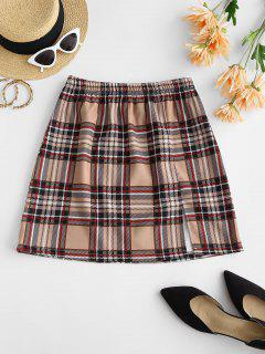 Plaid Front Slit Mini Skirt - Light Coffee S