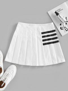ZAFUL Striped Pleated Mini Skirt - White M
