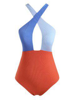 ZAFUL Colorblock Criss Cross Ribbed Plus Size One-piece Swimsuit - Dark Orange Xxl