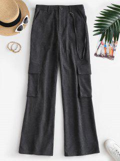 ZAFUL Pockets High Rise Wide Leg Pants - Black L