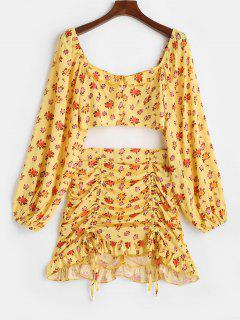 Floral Zip Ruched Cinched Two Piece Skirt Set - Yellow M