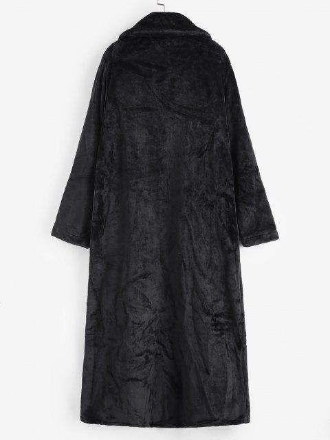 Flauschiger Künstliche Pelz Fallschulter Langleine Mantel - Schwarz Eine Größe Mobile