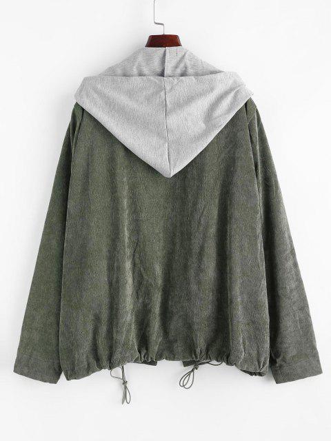 trendy Vest Zip Up Corduroy Combo Jacket - GREEN ONE SIZE Mobile