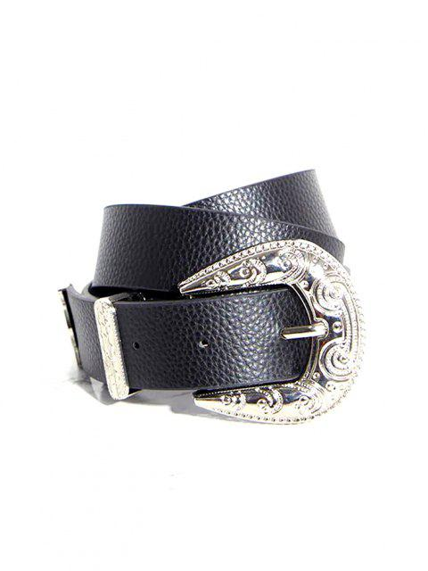 outfit Engraved Pin Buckle Western Belt - BLACK  Mobile