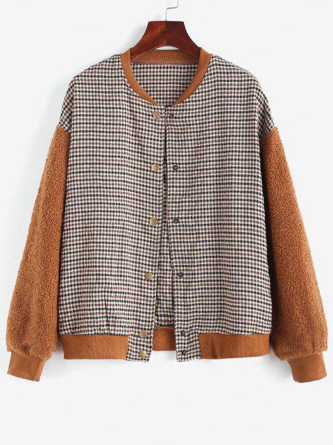 Gingham Faux Shearling Teddy Baseball Jacket - قهوة L Mobile