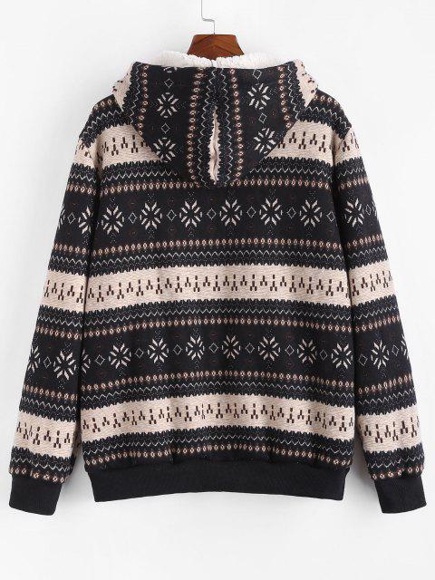 unique ZAFUL Christmas Snowflake Print Hooded Faux Shearling Jacket - BLACK L Mobile