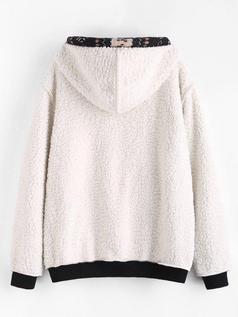 online ZAFUL Christmas Snowflake Print Hooded Faux Shearling Jacket - BLACK XL Mobile