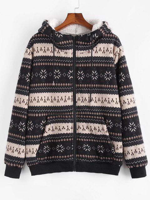 ZAFUL Christmas Snowflake Print Hooded Faux Shearling Jacket - أسود M Mobile