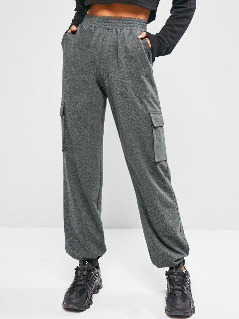 women ZAFUL High Waisted Pocket Heather Pants - CARBON GRAY L Mobile
