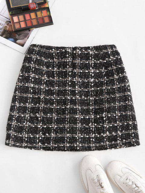trendy Plaid Faux Pearl Button Tweed Skirt - BLACK M Mobile