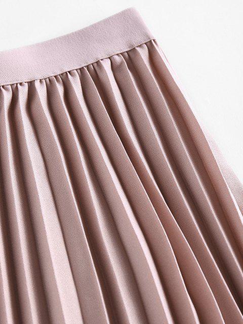 shop ZAFUL Pleated Elastic Waist Midi Skirt - LIGHT PINK M Mobile