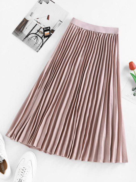 fashion ZAFUL Pleated Elastic Waist Midi Skirt - LIGHT PINK S Mobile