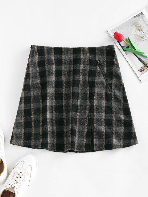 outfit ZAFUL Front Slit Zippered Plaid Skirt - BLACK M Mobile