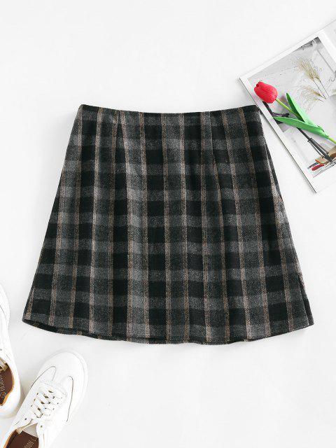 fashion ZAFUL Front Slit Zippered Plaid Skirt - BLACK S Mobile