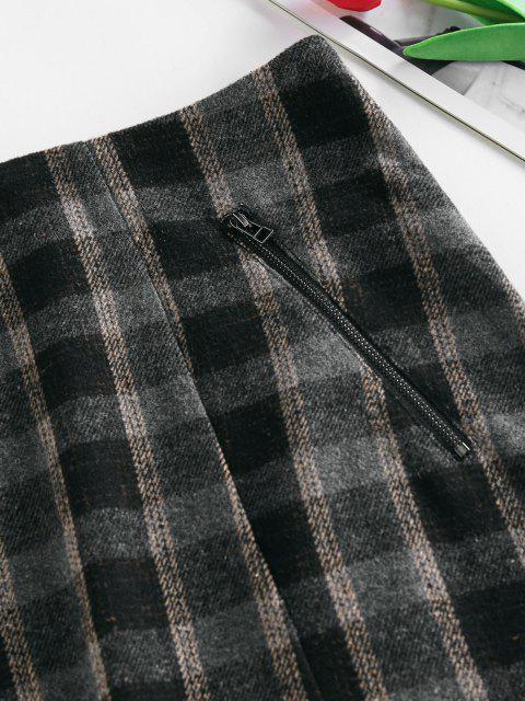 women ZAFUL Front Slit Zippered Plaid Skirt - BLACK XL Mobile