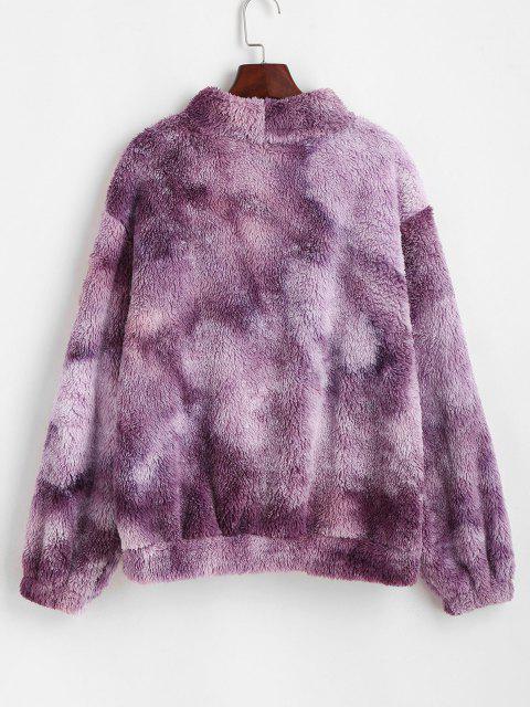 womens ZAFUL Front Pocket Fluffy Tie Dye Sweatshirt - PURPLE M Mobile