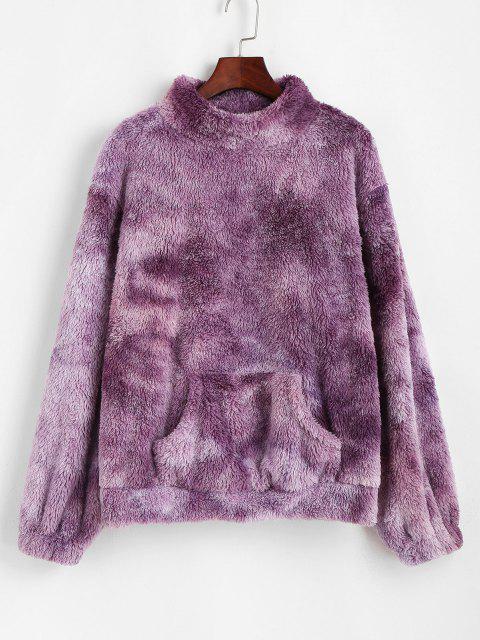 ZAFUL Front Pocket Fluffy Tie Dye Sweatshirt - أرجواني S Mobile