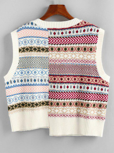 ladies ZAFUL Geo Asymmetrical Patchwork Southwestern Sweater Vest - MULTI S Mobile