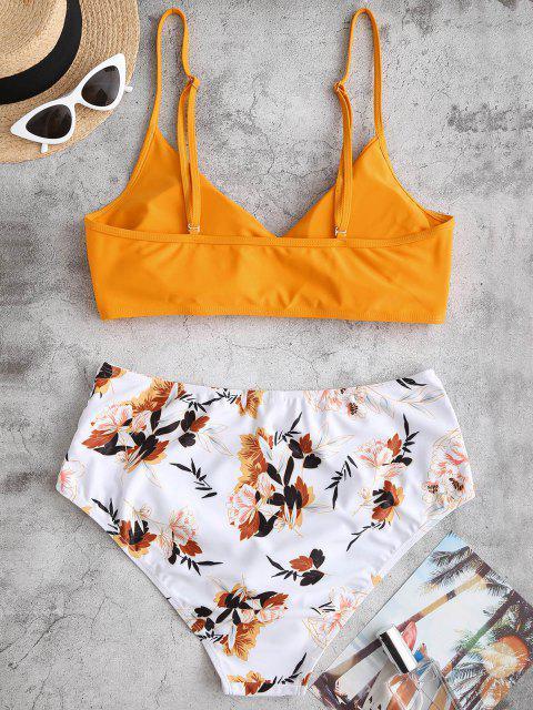 Maillot de Bain Bikini Fleuri Superposé de Grande Taille à Volants - Jaune Canard Caoutchouc 3XL Mobile