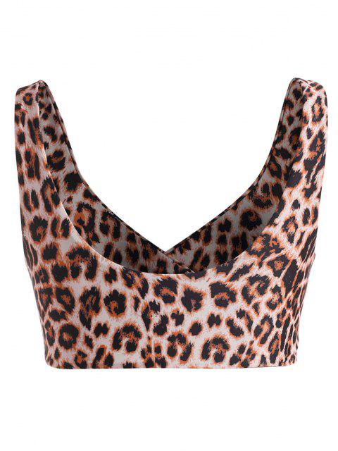womens ZAFUL Plus Size Leopard Surplice Bikini Top - DEEP COFFEE XL Mobile
