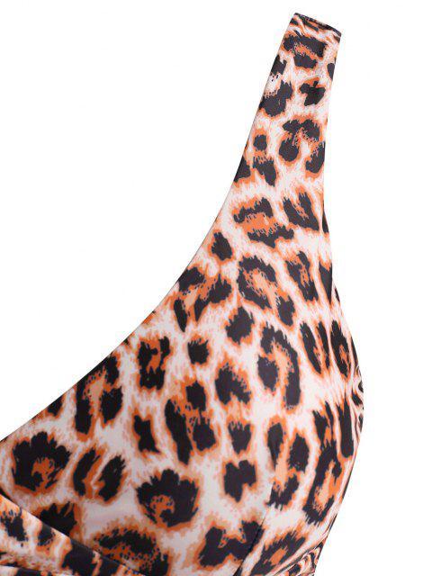 ladies ZAFUL Plus Size Leopard Surplice Bikini Top - DEEP COFFEE XXXXL Mobile