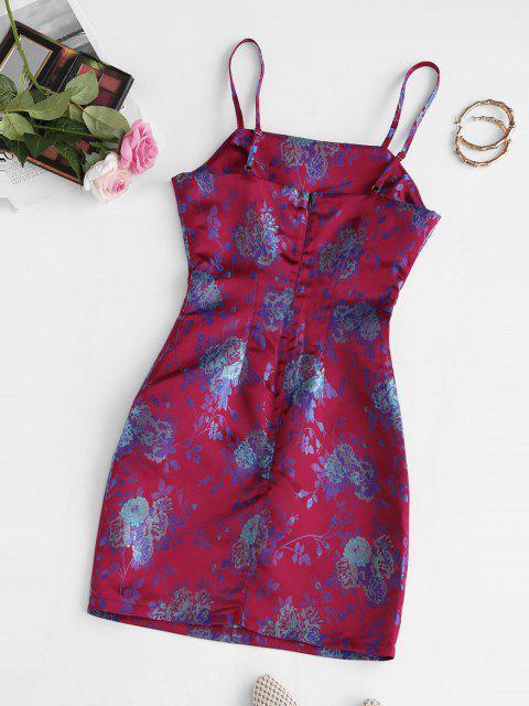 shops Cami Floral Jacquard Oriental Slinky Dress - RED M Mobile