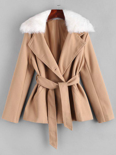 Belted Fur Collar Wool Blend Peacoat - القهوة الخفيفة S Mobile
