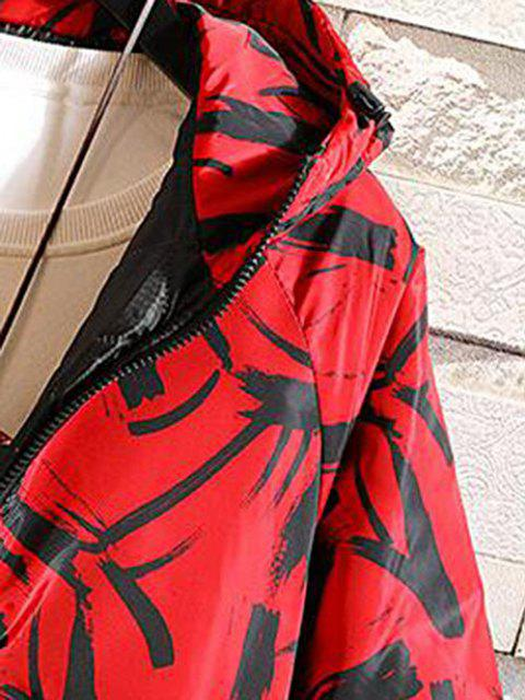 fancy Hooded Scrawl Print Padded Jacket - LAVA RED M Mobile