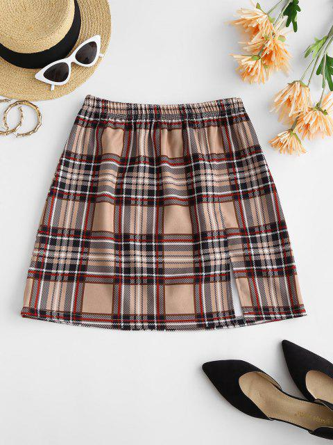 women Plaid Front Slit Mini Skirt - LIGHT COFFEE M Mobile