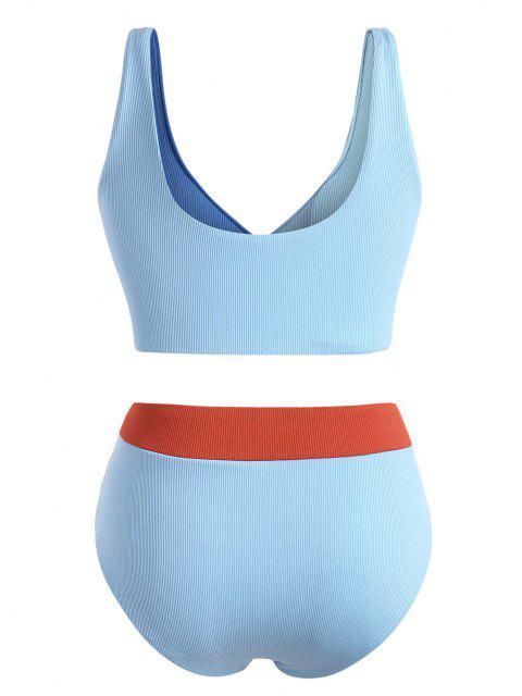ZAFUL Übergröße Gerippte Farbblock Surplice Bikini Badebekleidung - Hellblau XL Mobile