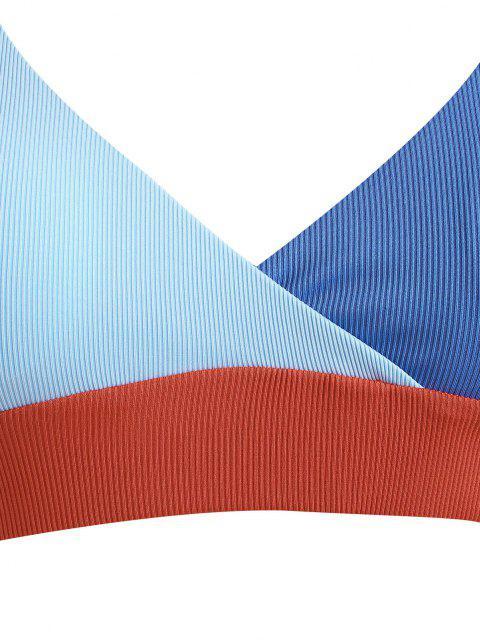 trendy ZAFUL Plus Size Ribbed Colorblock Surplice Bikini Swimwear - LIGHT BLUE XXL Mobile