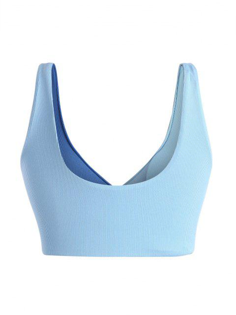 fancy ZAFUL Plus Size Ribbed Colorblock Surplice Bikini Top - LIGHT BLUE XL Mobile