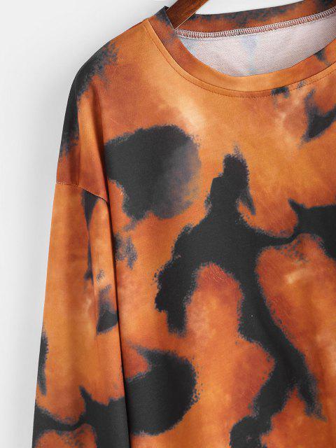 Sudadera Suelta Tie Dye Hombro Caído Cordón Ajustable - Multicolor S Mobile