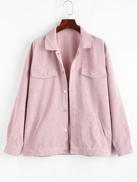 trendy Pockets  Flap Detail Corduroy Shacket - LIGHT PINK M Mobile