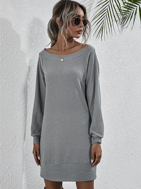 sale Boat Neck Honeycomb Raglan Sleeve Knit Sweatshirt Dress - GRAY L Mobile