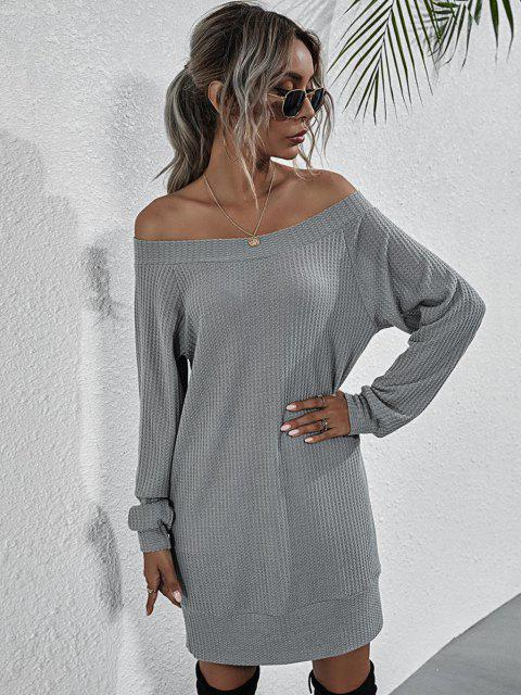 women Boat Neck Honeycomb Raglan Sleeve Knit Sweatshirt Dress - GRAY S Mobile