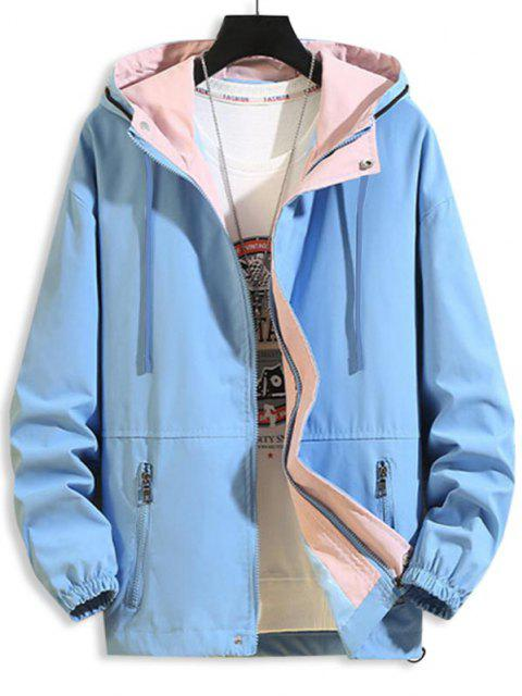 outfits Hooded Zipper Pockets Drawstring Jacket - BLUE XS Mobile