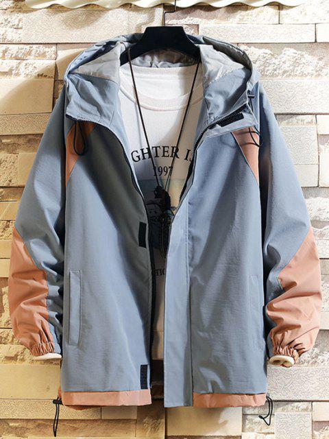 online Hooded Toggle Drawstring Contrast Jacket - LIGHT BLUE M Mobile
