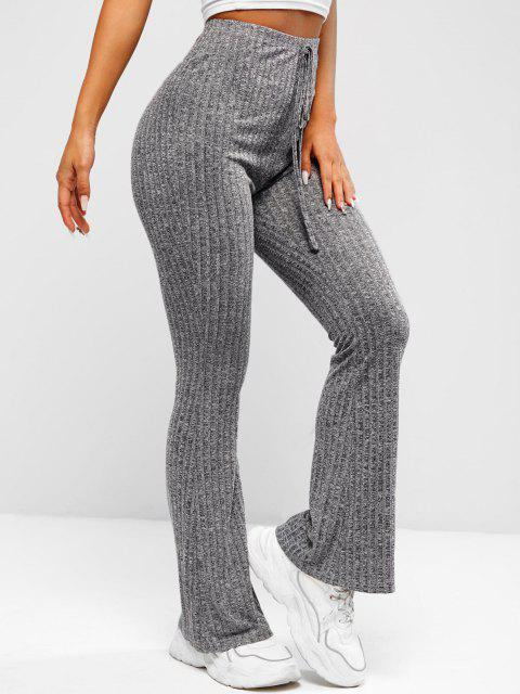 new ZAFUL Heathered Knitted Bell Bottom Pants - CARBON GRAY M Mobile