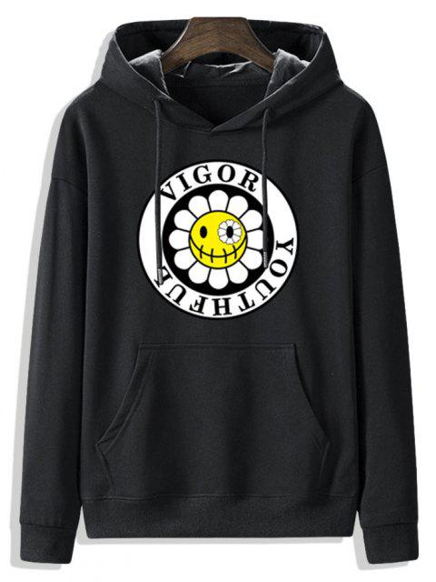 unique Fleece Lined Sunflower Vigor Youthful Graphic Hoodie - BLACK L Mobile
