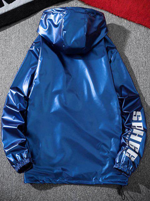 Veste à Capuche Lettre Imprimée Métallisée - Bleu M Mobile