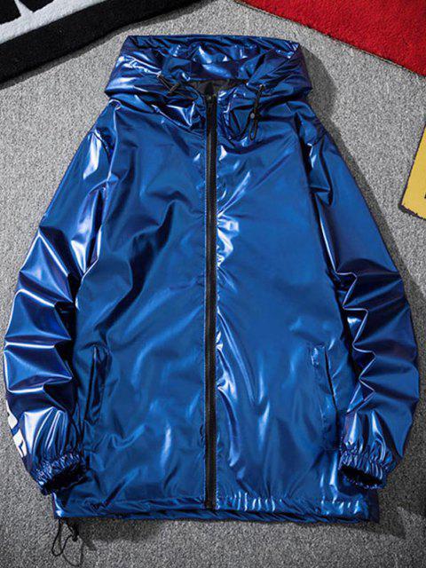 Veste à Capuche Lettre Imprimée Métallisée - Bleu L Mobile