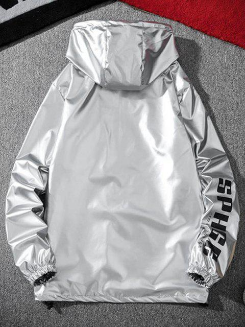 Letter Print Hooded Metallic Jacket - رمادي فاتح 2XL Mobile