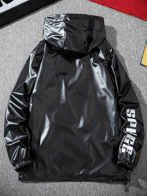 Veste à Capuche Lettre Imprimée Métallisée - Noir 4XL Mobile