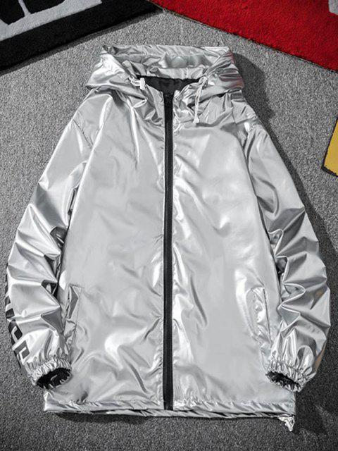 latest Letter Print Hooded Metallic Jacket - LIGHT GRAY 3XL Mobile