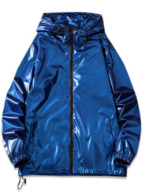 Letter Print Hooded Metallic Jacket - أزرق 4XL Mobile
